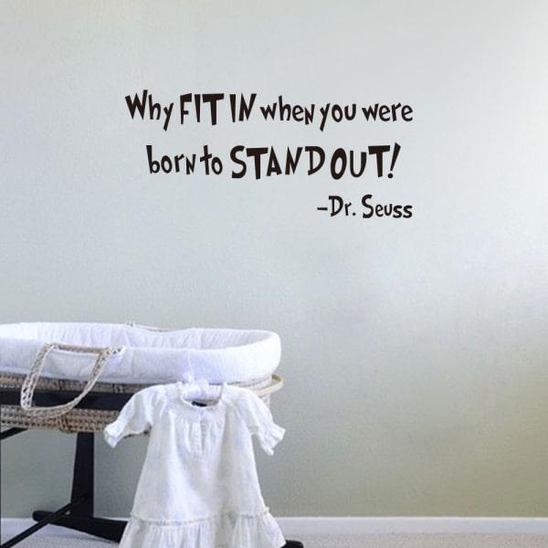 Citat wallsticker. Why Fit In when you were born to Stand Out.